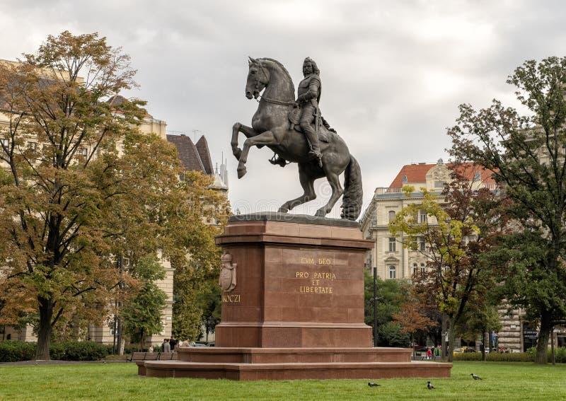 Estatua ecuestre Francisco II Rakoczi, cuadrado de Kossuth Lajos, Budapest, Hungría imágenes de archivo libres de regalías