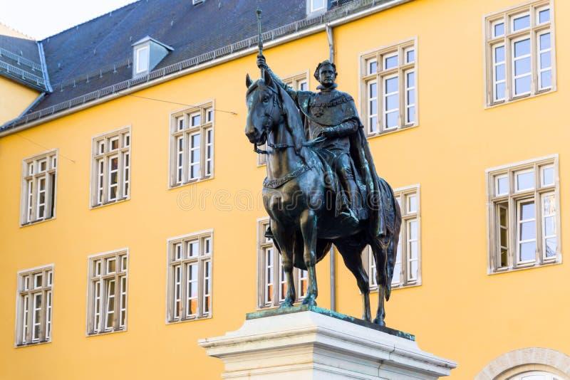 Estatua ecuestre Luis la primera en Baviera Alemania de Regensburg foto de archivo libre de regalías