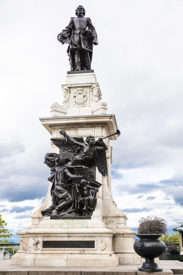 Estatua entera del monumento de Samuel de Champlain imagen de archivo libre de regalías