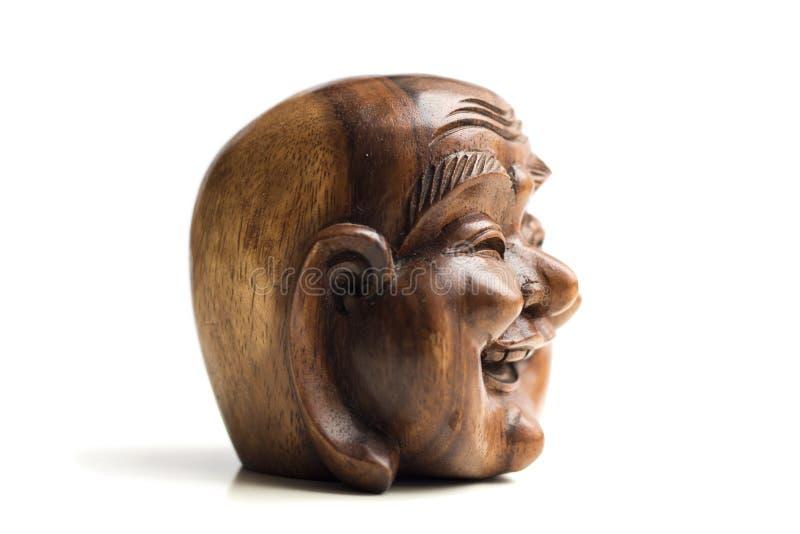 Estatua feliz de madera de la cabeza de Buda Recuerdo de Indonesia, Southe imágenes de archivo libres de regalías