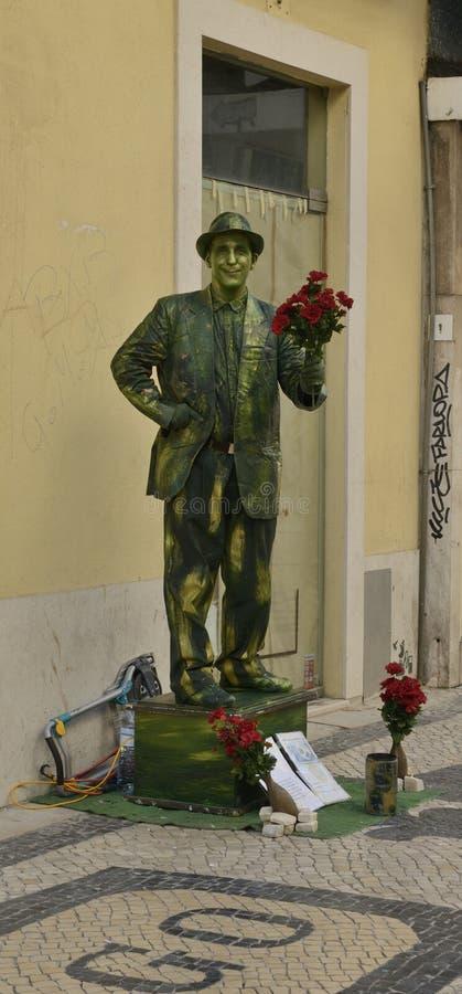 Estatua humana en la calle de Augusta fotos de archivo