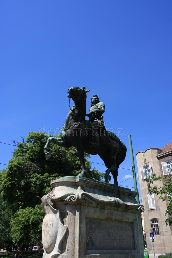 Estatua II de Rakoczi Ferenc en Szeged, Hungría, región de Csongrad imagen de archivo