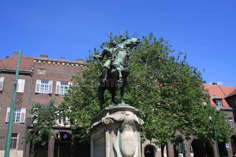 Estatua II de Rakoczi Ferenc en Szeged, Hungría, región de Csongrad foto de archivo libre de regalías