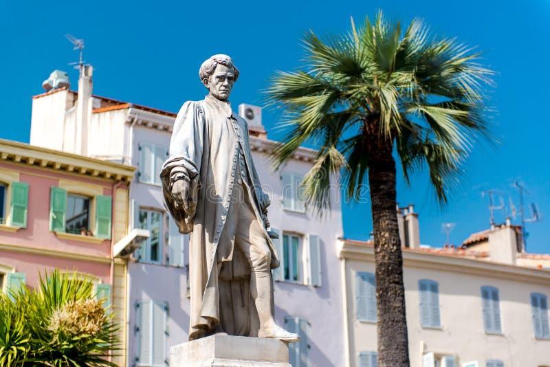 Estatua Lord Brougham en Cannes fotos de archivo libres de regalías