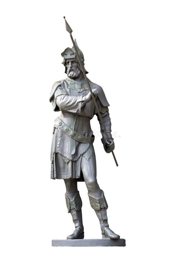Estatua medieval del caballero aislada en blanco fotos de archivo