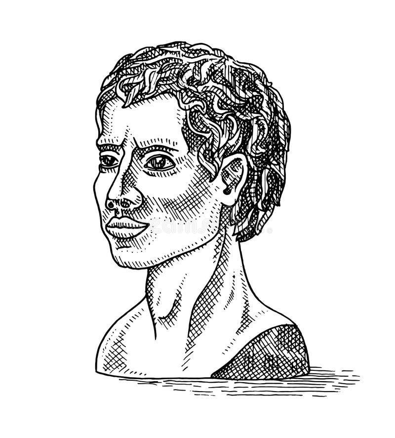 Estatua o escultura del yeso en estilo del vintage El jefe del Apolo griego Modelo para los artistas y los arquitectos grabado stock de ilustración