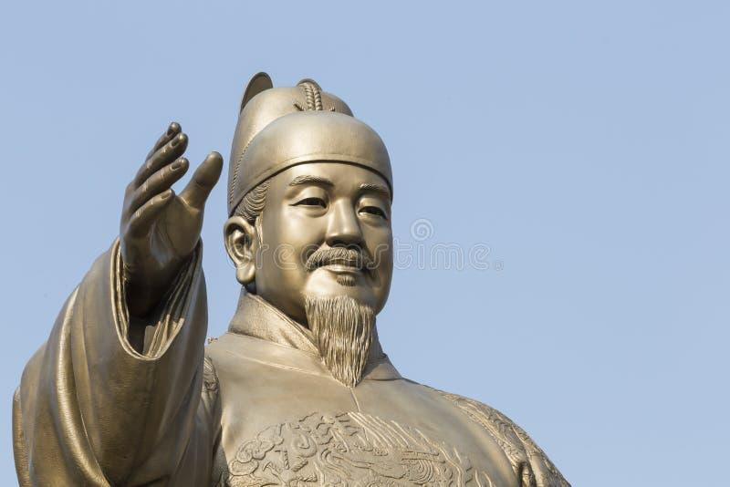 Estatua pública de rey Sejong, el gran rey de la Corea del Sur, adentro fotos de archivo