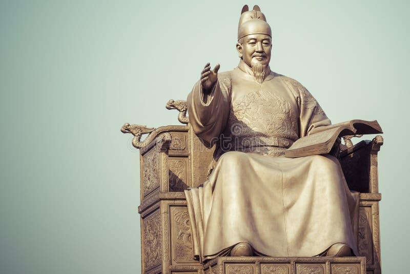 Estatua pública de rey Sejong, el gran rey de la Corea del Sur, adentro imagen de archivo