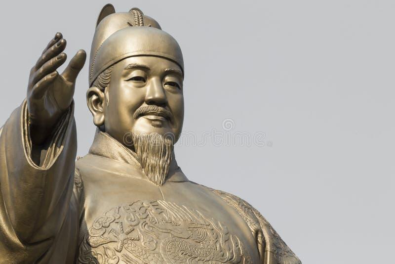 Estatua pública de rey Sejong, el gran rey de la Corea del Sur, adentro foto de archivo