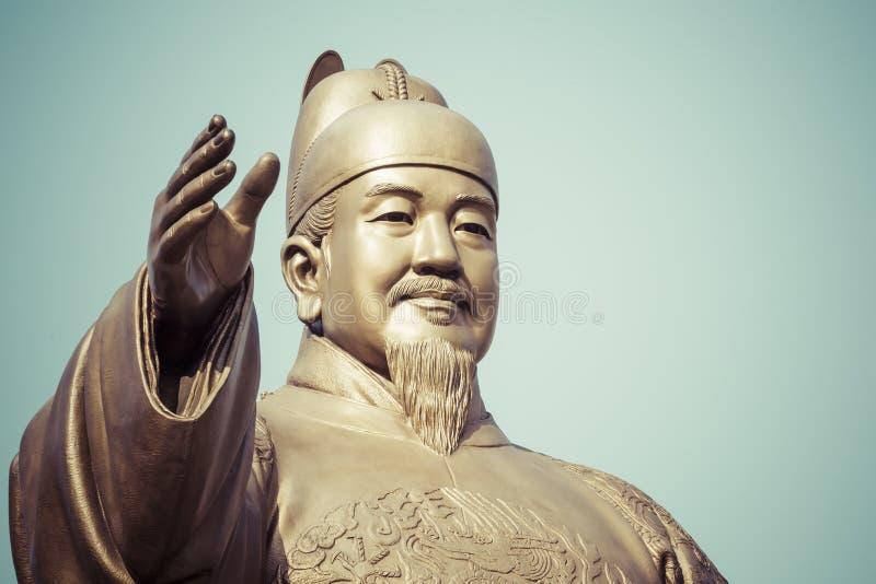 Estatua pública de rey Sejong, el gran rey de la Corea del Sur, adentro imagen de archivo libre de regalías