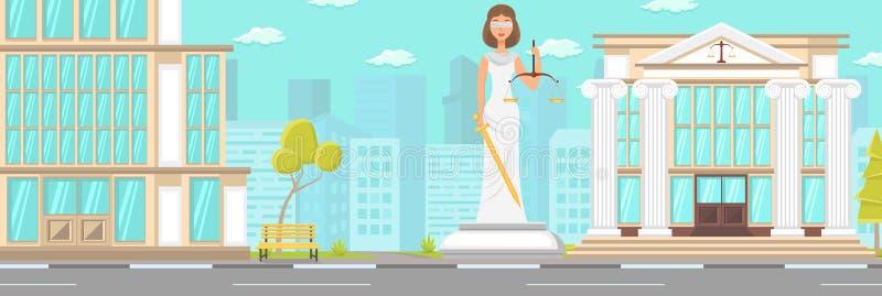 Estatua plana de la corte de la fachada del edificio del vector en el centro de la ciudad libre illustration