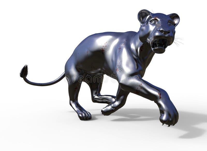 Estatua potente del depredador del puma ilustración del vector