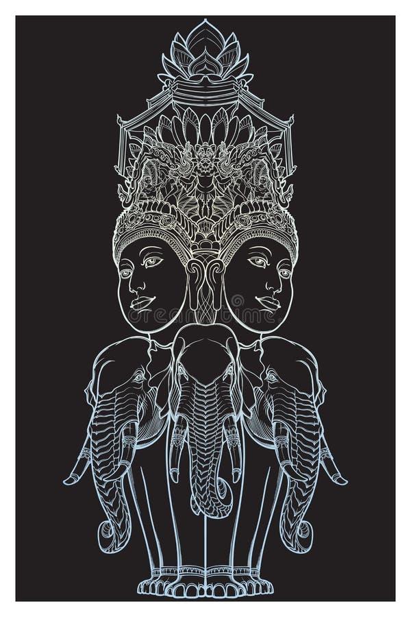 Estatua que representa Trimurti - trinidad de dioses hindúes Brahma, Vishnu y Shiva, sentándose en tres elefantes intrincado libre illustration