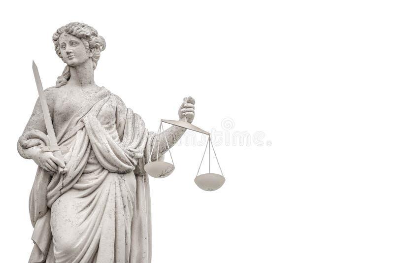Estatua una mujer del juez con las escalas y espada aislada en el CCB blanco fotografía de archivo