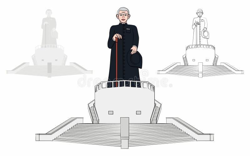 Estatua y museo de vida del sacerdote católico brasileño Cicero stock de ilustración