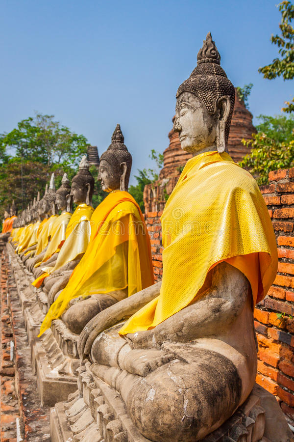 Estatuas alineadas de Buddha fotos de archivo