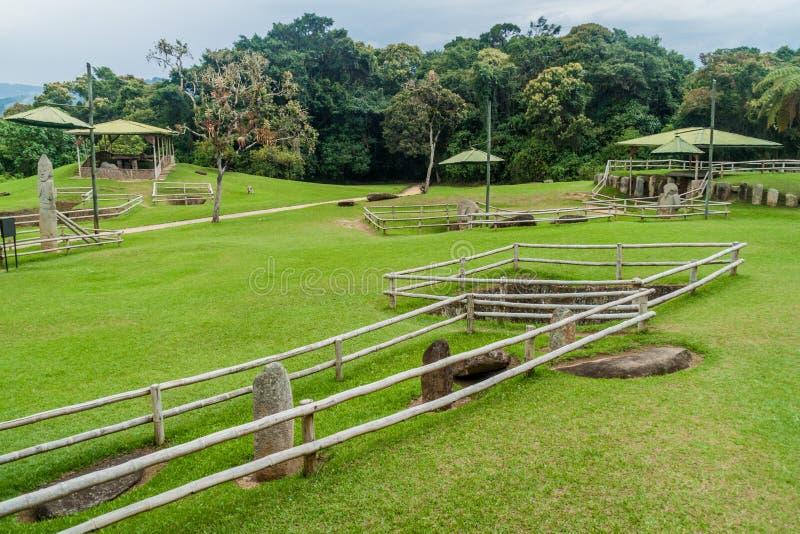 Estatuas antiguas en parque arqueológico en San Agustin fotos de archivo libres de regalías