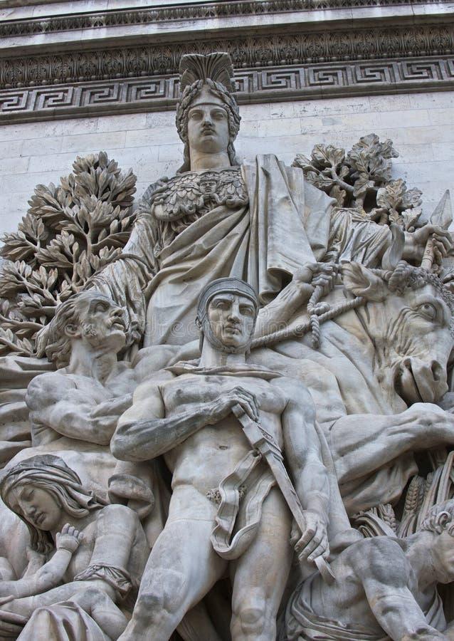 Estatuas Arc de Triomphe fotos de archivo libres de regalías