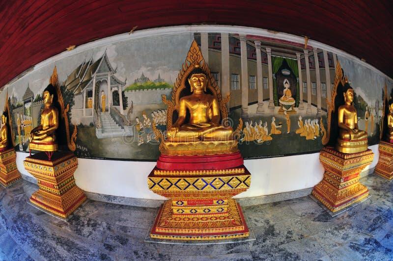 Estatuas de Buddha en la opinión del fisheye imagen de archivo libre de regalías