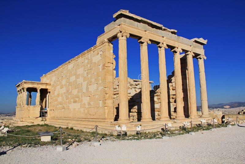 Estatuas de la cariátide en el pórtico del Erechtheion en Atenas, Grecia imagen de archivo libre de regalías