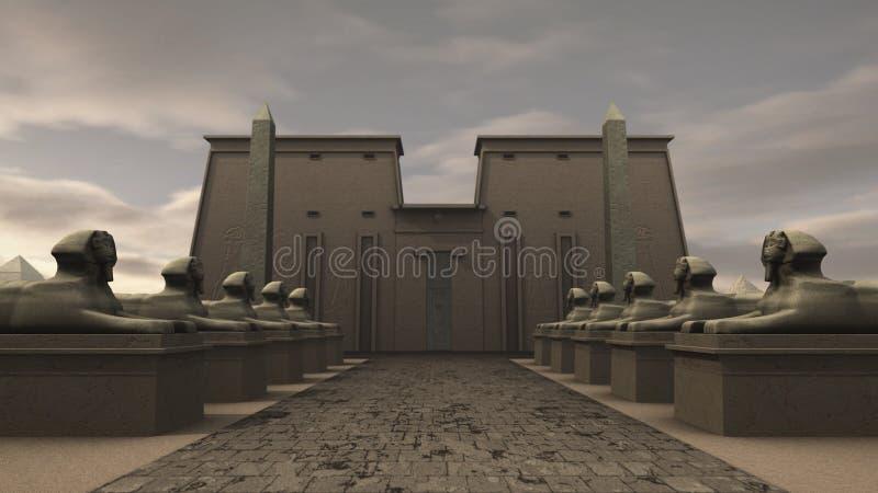 Estatuas de la esfinge en un templo en Egipto antiguo ilustración del vector