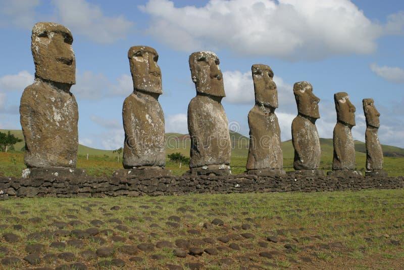 Estatuas de la isla de pascua fotografía de archivo