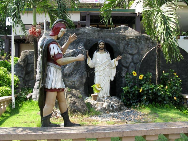 Estatuas de la resurrección, capilla nacional de la misericordia divina en Marilao, Bulacan imágenes de archivo libres de regalías