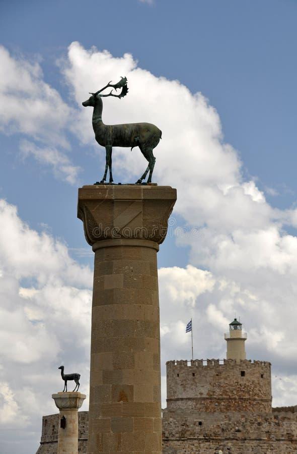 Estatuas de los ciervos del santo Nicholas Fort, de Rodas y de Rhodian foto de archivo