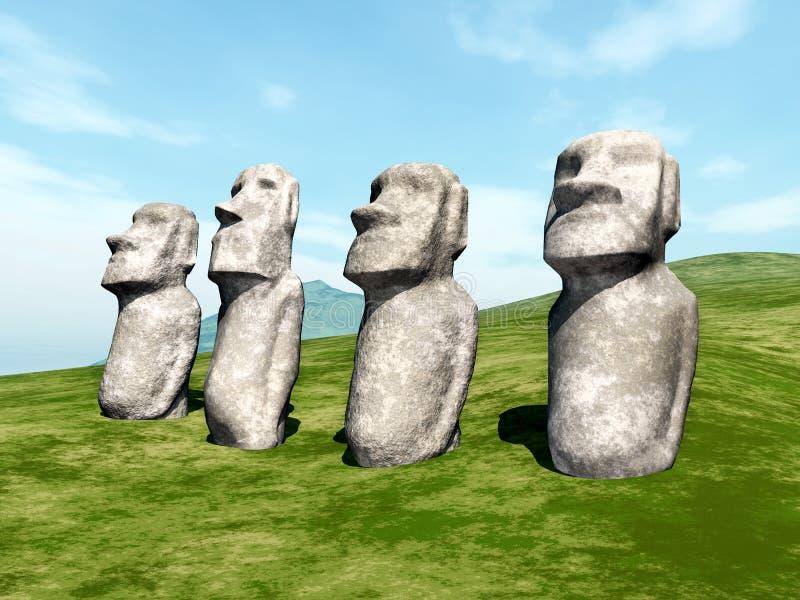 Estatuas de Moai ilustración del vector