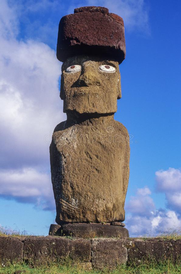 Estatuas de Moais en la isla de pascua, Chile imágenes de archivo libres de regalías