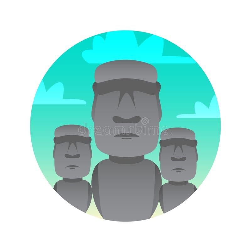 Estatuas de piedra del icono plano del color de Moai stock de ilustración