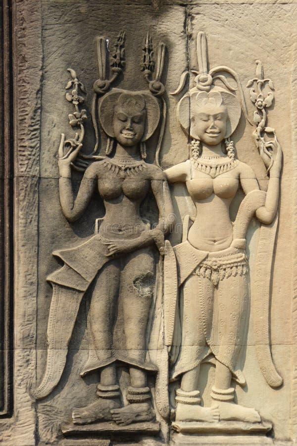 Estatuas del bailarín de Apsara fotos de archivo