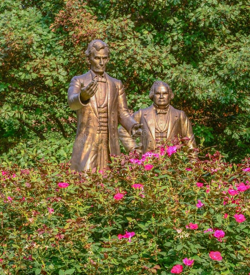 Estatuas del discusión de Lincoln Douglas fotografía de archivo