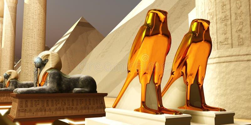 Estatuas egipcias de los Falcons ilustración del vector