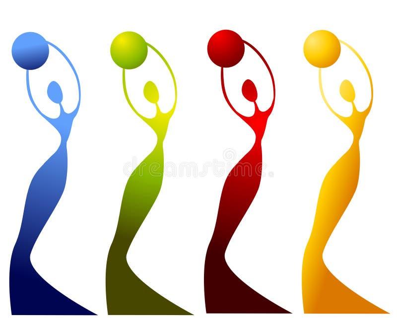 Estatuas femeninas que sostienen los globos stock de ilustración