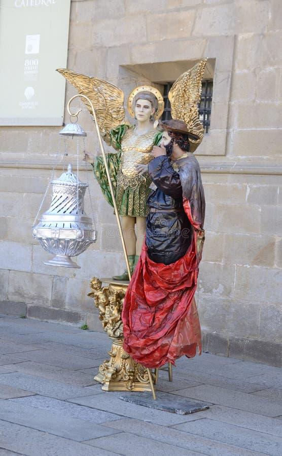 Estatuas humanas en Santiago de Compostela imagen de archivo