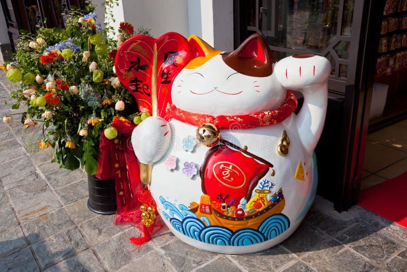 Estatueta afortunada chinesa do gato foto de stock royalty free