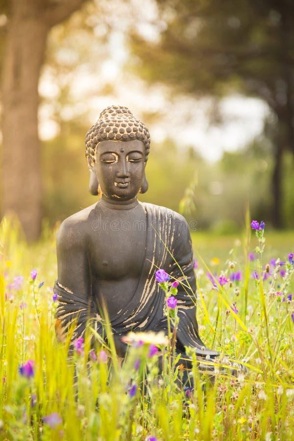 Estatueta da Buda na natureza fotografia de stock