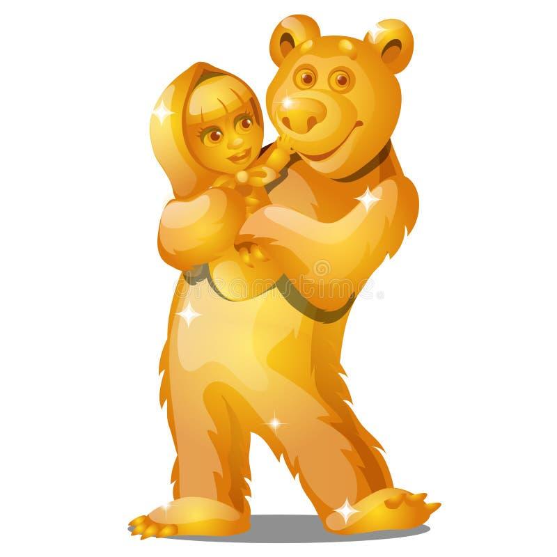 Estatueta dourada sob a forma de uma menina da vila nas patas de um urso isolado no fundo branco Fim dos desenhos animados do vet ilustração stock