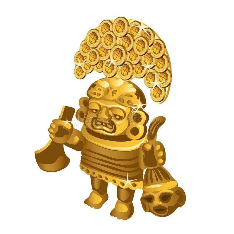 A estatueta ritual indiana do Inca do ouro, um símbolo do sacrifício está em um fundo branco Ilustração do vetor ilustração royalty free