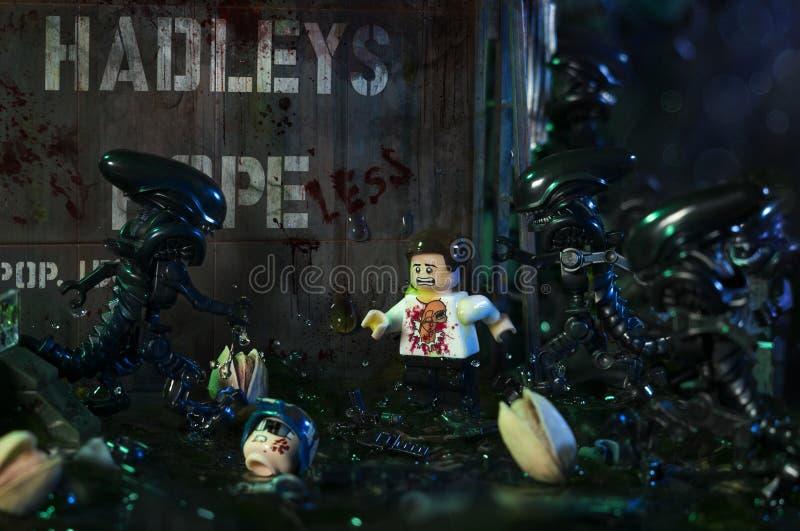 Estatuetas do filme de LEGO Alien fotos de stock