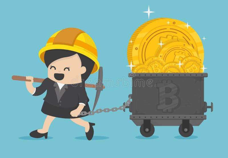 Estatuetas do mineiro da mulher de negócio que escavam a terra para descobrir o bitcoi ilustração do vetor
