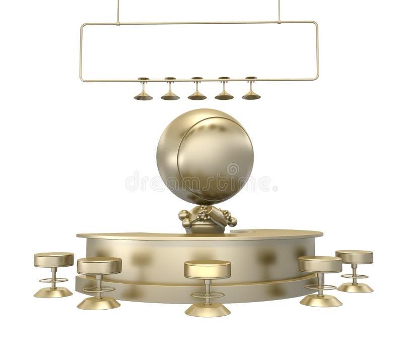Estatuilla del oro del camarero que sacude la bebida libre illustration