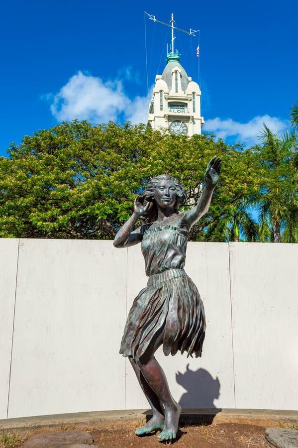 Estatura que fronteia Aloha Tower imagens de stock