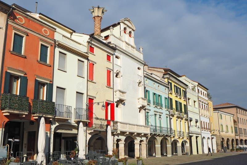 Este,帕多瓦,意大利 大广场和它的威尼斯式样式大厦 库存图片
