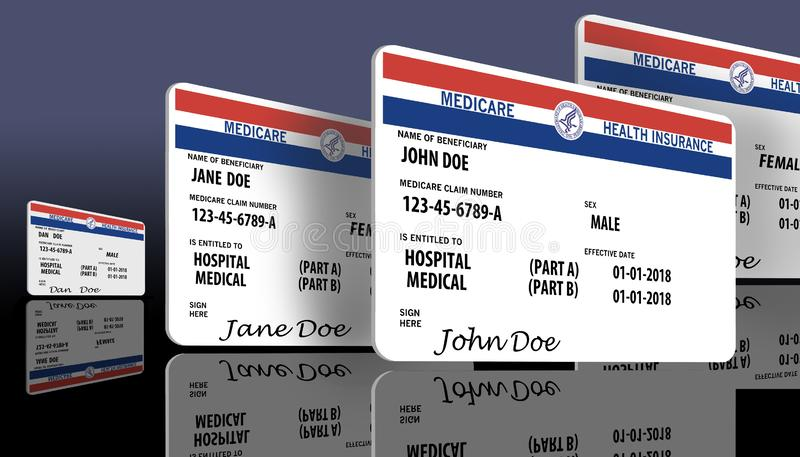Este é um cartão federal genérico de medicare Os nomes genéricos e os logotipos estão neste cartão ilustração stock