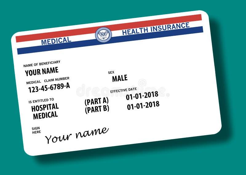 Este é um cartão federal genérico de medicare Os nomes genéricos e os logotipos estão neste cartão ilustração do vetor