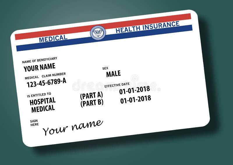 Este é um cartão federal genérico de medicare Os nomes genéricos e os logotipos estão neste cartão ilustração royalty free