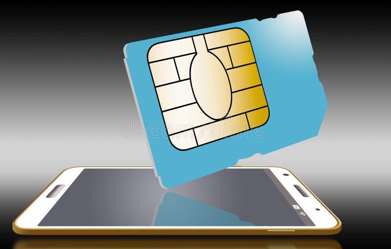 Este é um cartão genérico do sim para um telefone celular ilustração royalty free