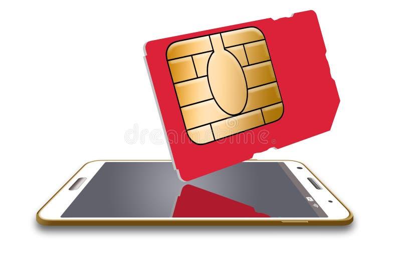 Este é um cartão genérico do sim para um telefone celular ilustração stock